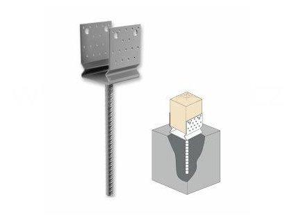 Kotevní patka do betonu typ U s prolisem