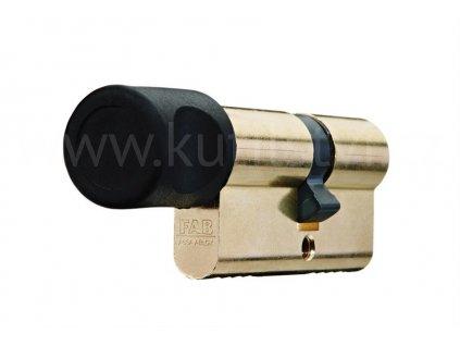 Oboustranná bezpečnostní cylindrická vložka s knoflíkem FAB 202 RSD, mosaz