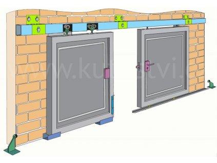 Pojezdová sada pro zavěšené brány 400 a 700 kg, profil 57x67 mm