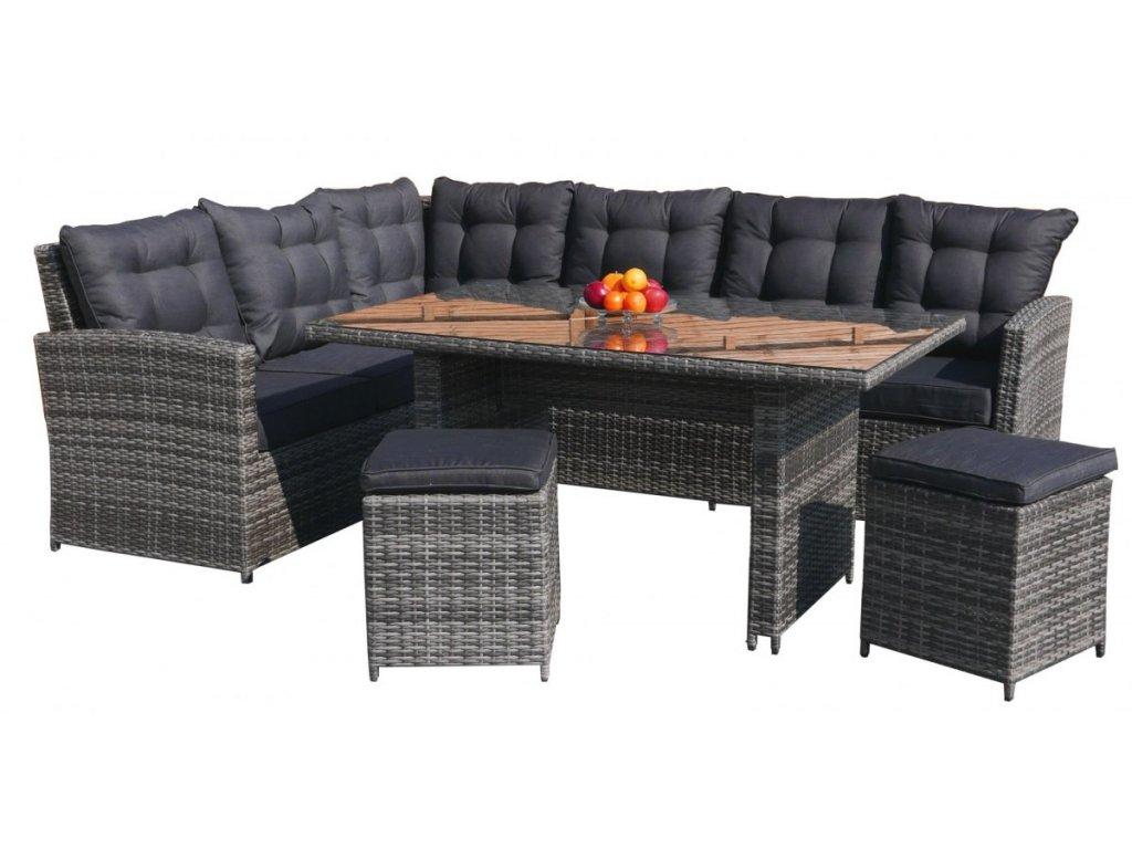 Rohová zostava ratanového nábytku Puffy s vysokým stolom