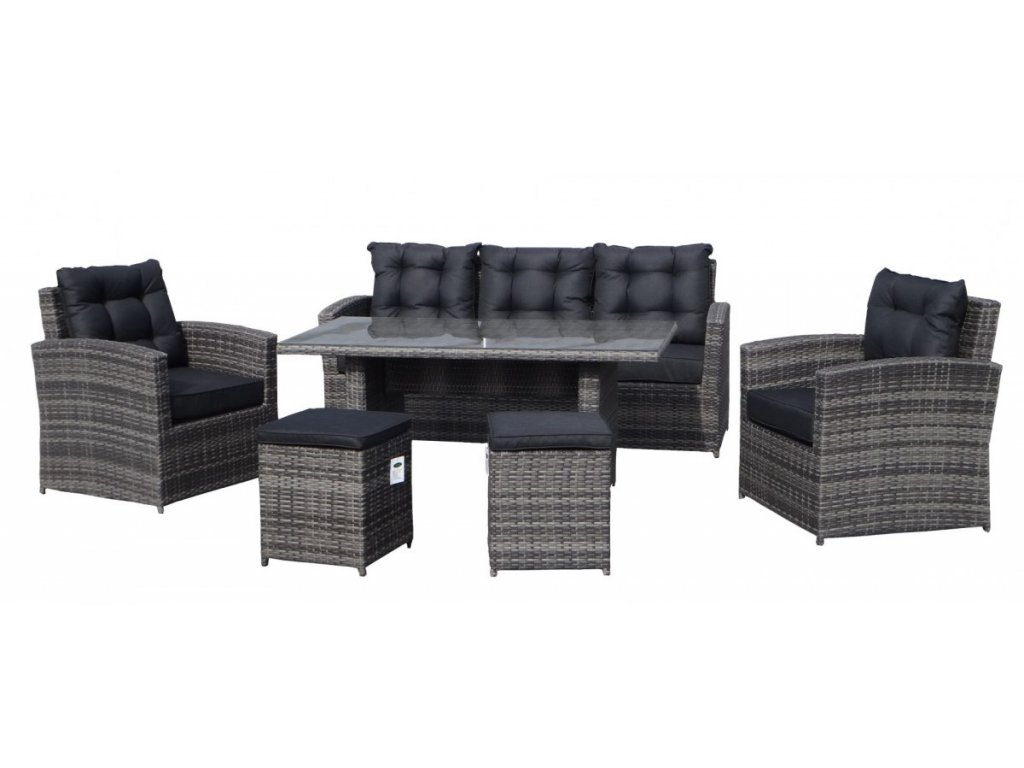 Zostava ratanového nábytku Puffy s vysokým stolom