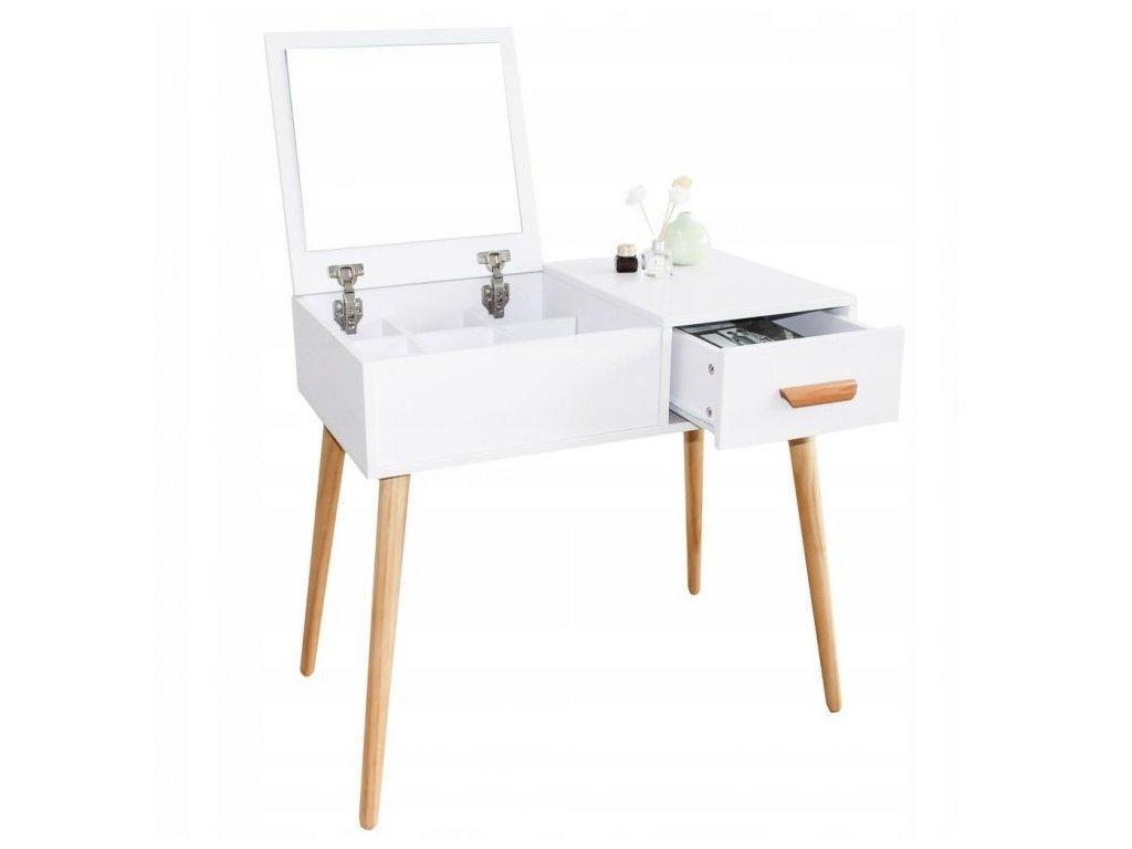 Toaletný stolík so zrkadlom Sarh biely