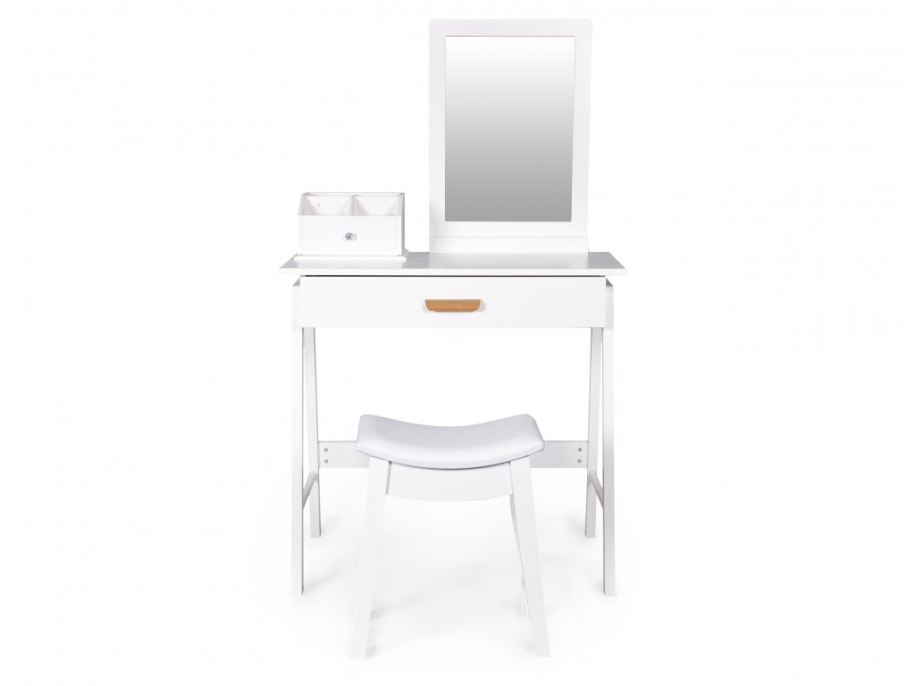 Toaletný stolík GoodHome biely + taburetka