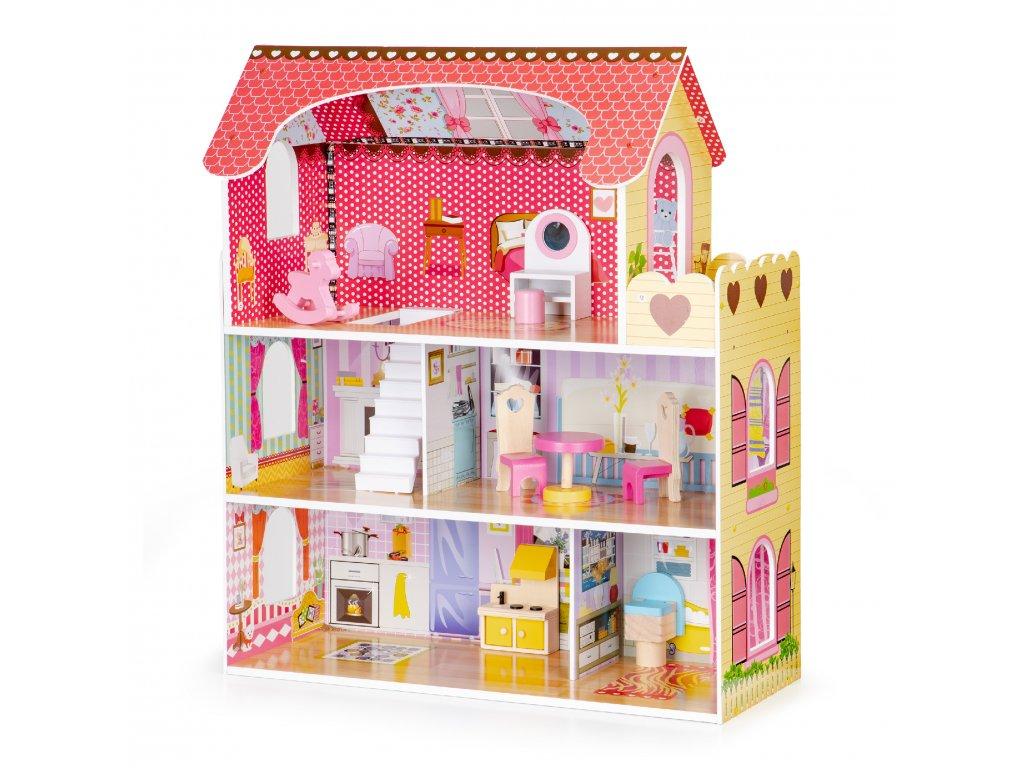 Drevený domček pre bábiky s LED osvetlením + súprava nábytku