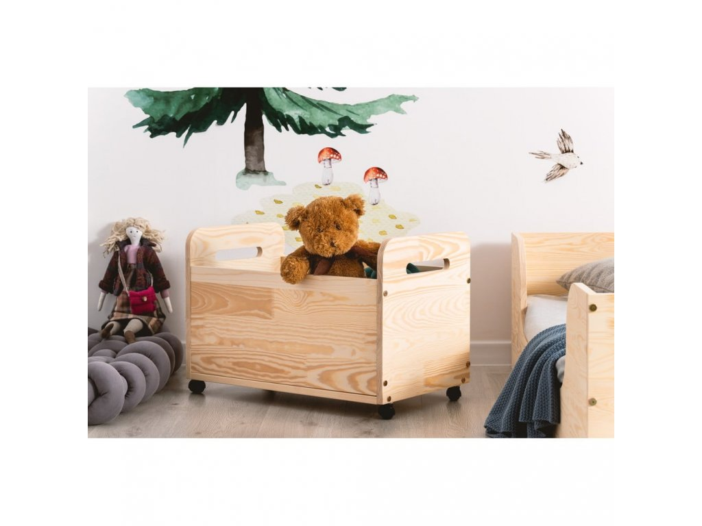 Detský drevený box na kolieskách KUTU 2 60