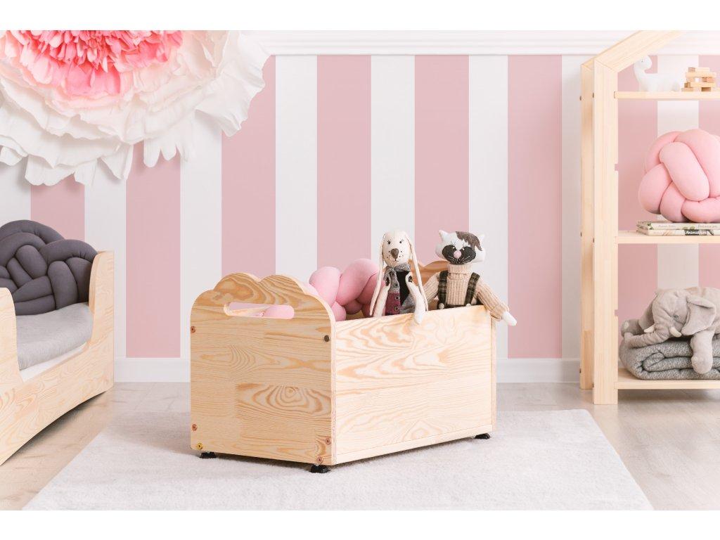 Detský drevený box na kolieskách KUTU 3 60