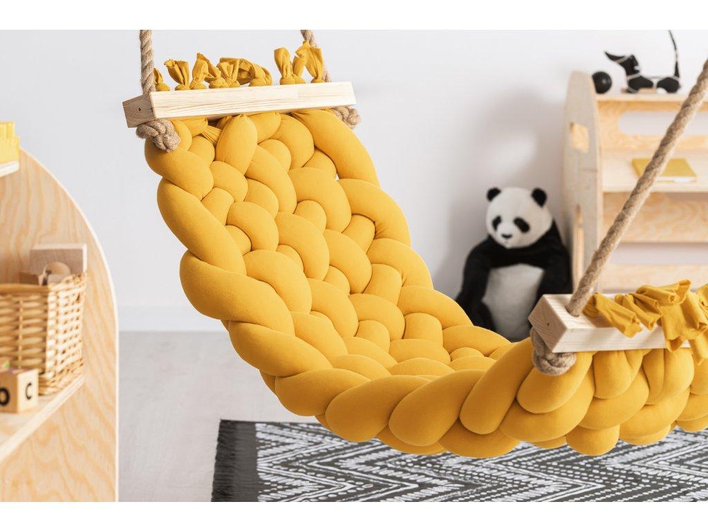 Handmade bavlnené hojdacie siete HAMAK horčicovožltá