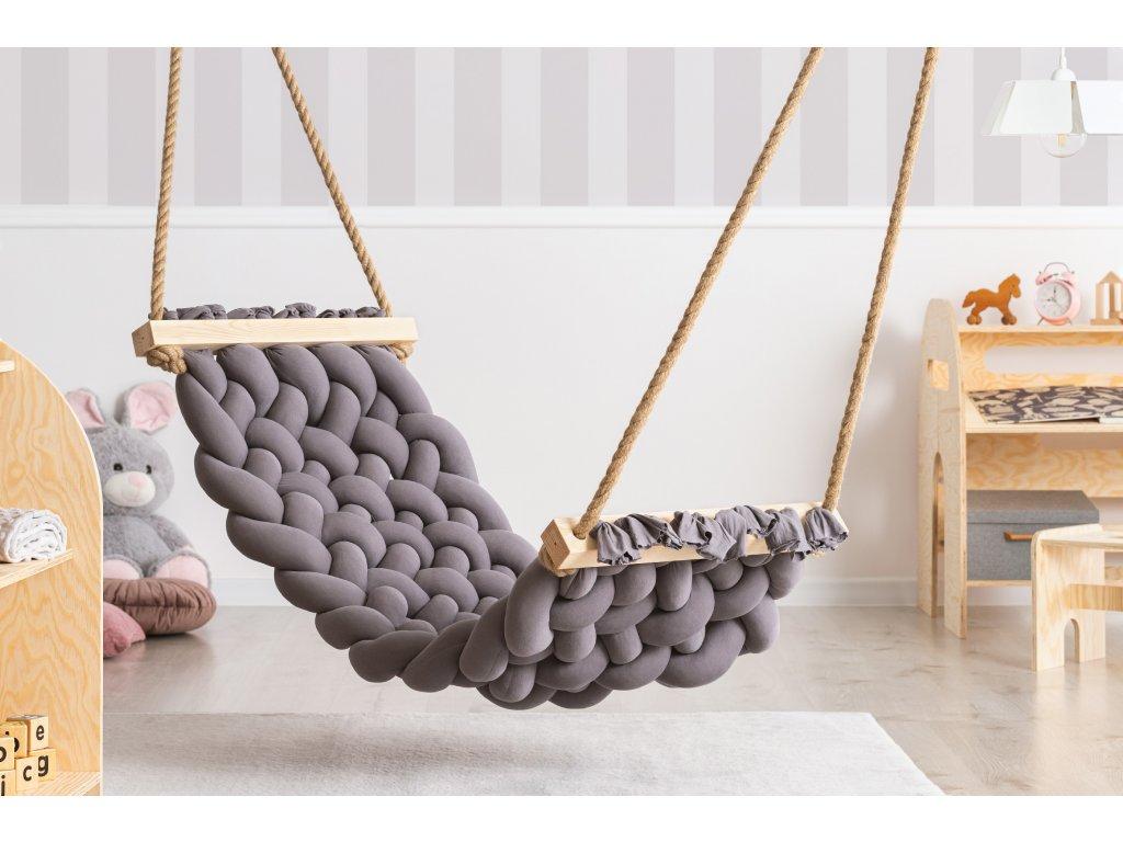 Handmade bavlnené hojdacie siete HAMAK tmavo sivá