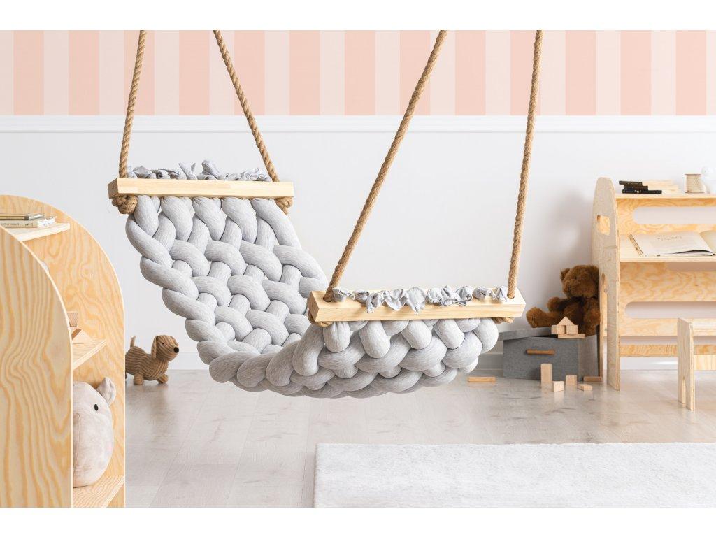 Handmade bavlnené hojdacie siete HAMAK slabo sivá