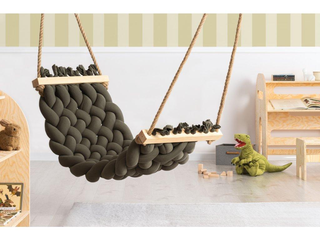 Handmade bavlnené hojdacie siete HAMAK kaki