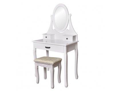 Toaletný kozmetický stolík so zrkadlom + taburetom Luc