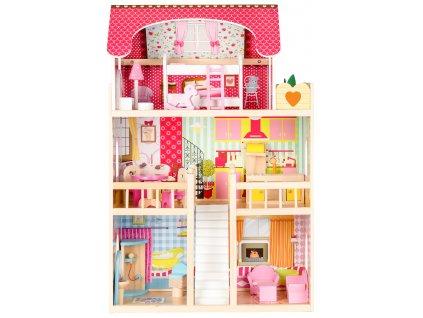 Drevený domček pre bábiky - Malinová rezidencia Ecotoys
