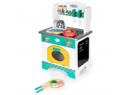 Drevená malá kuchyňka pre deti + príslušenstvo Ecotoys