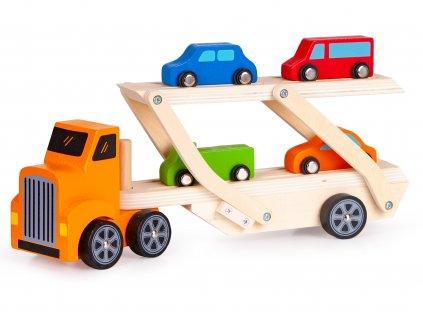 Ťahač s návesom na prepravu áut + 4 autíčka EcoToys