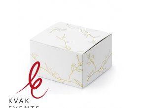 0007123 darkova svatebni krabicka bila se zlatymi listky 1 ks 510