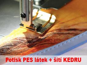 Potisk PES látky + šití kedru