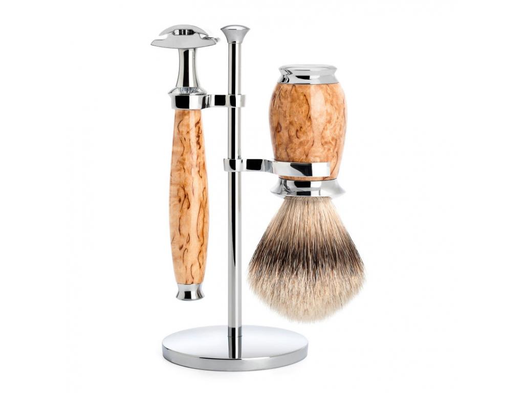 Sada na holení Mühle Purist Birch, Silvertip badger, žiletka