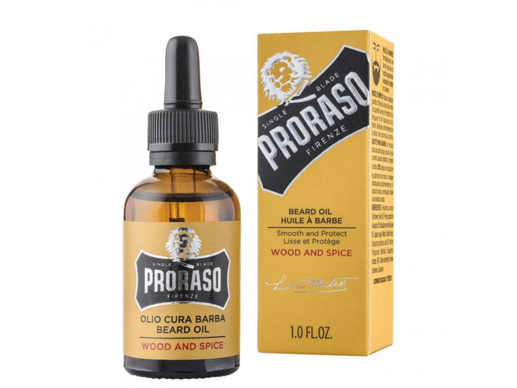 Olej na vousy Proraso, dřevo a koření