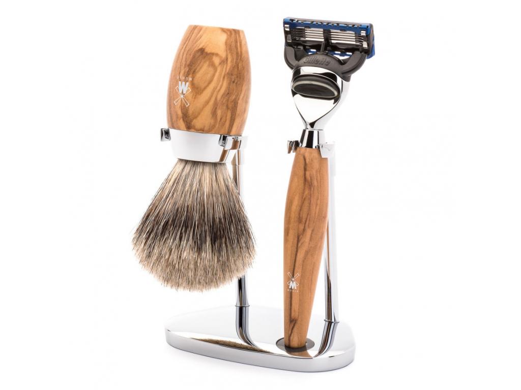 Sada na holení Mühle Kosmo Olive wood, Fine badger, Fusion