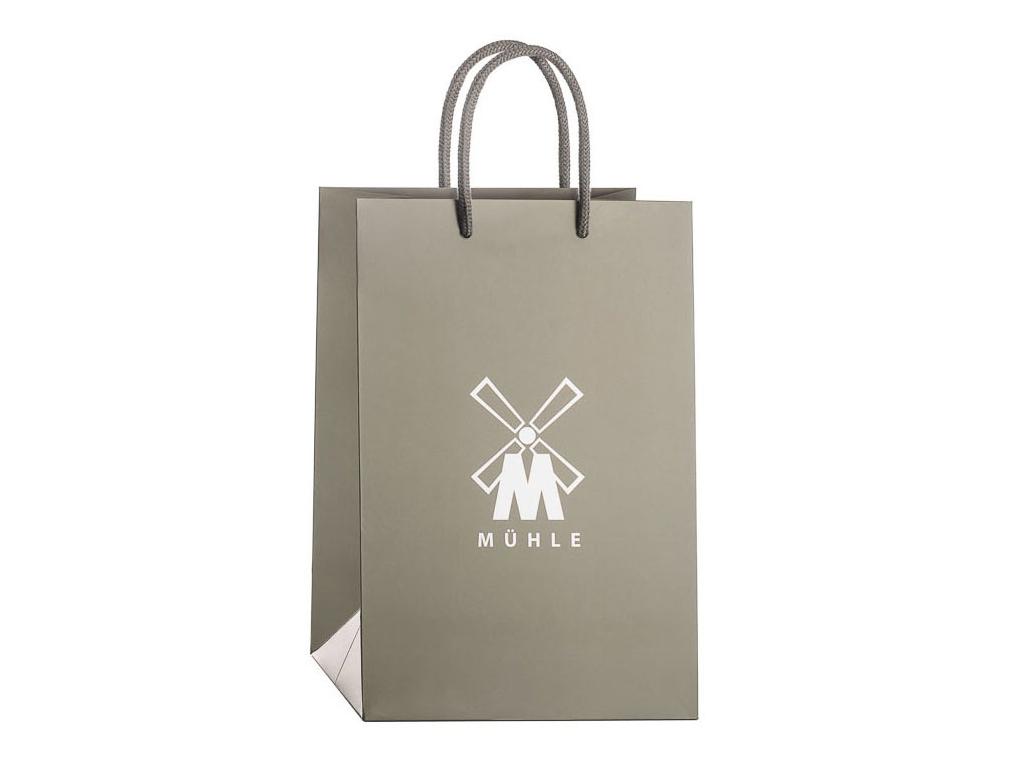 Dárková taška na holení Mühle šedá s logem a uchem