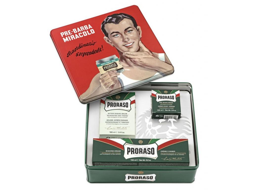 Dárkové balení Proraso GREEN, výběr produktů v plechové dóze