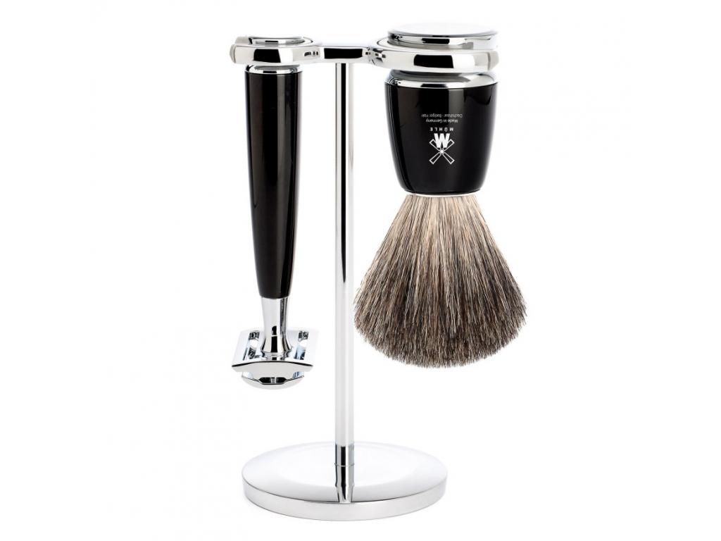 Sada na holení Mühle Rytmo, černá, Pure badger, žiletka