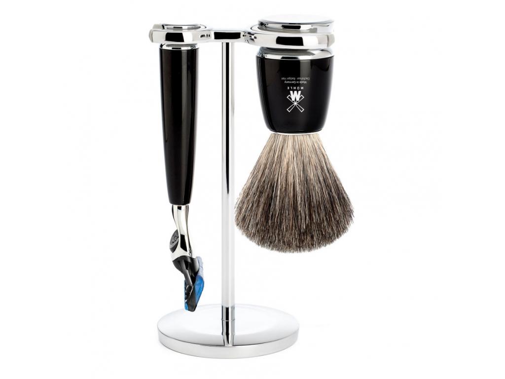 Sada na holení Mühle Rytmo, černá, Pure badger, Fusion