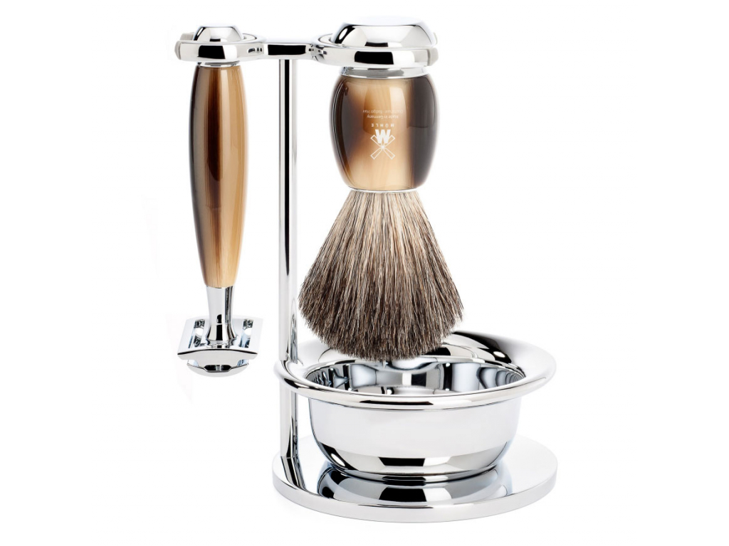 Sada na holení Mühle Vivo Horn s miskou, Pure badger, žiletka