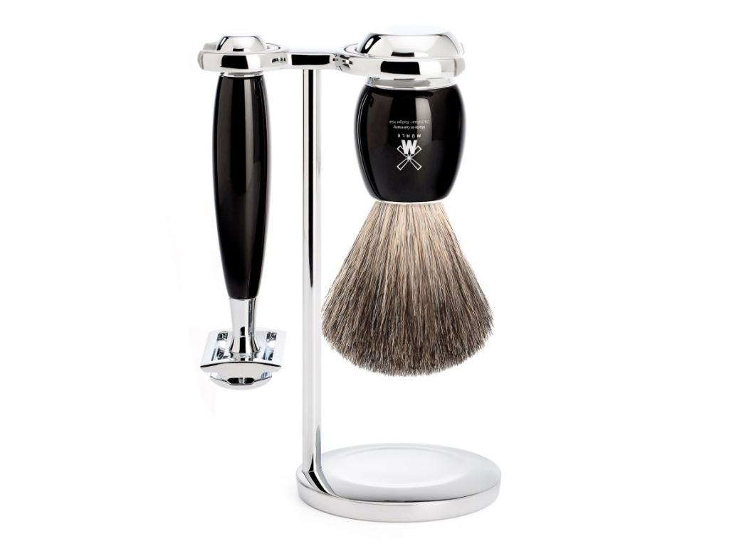 Sada na holení Mühle Vivo, černá, Pure badger, žiletka