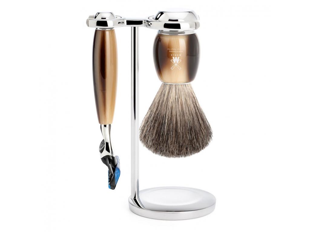 Sada na holení Mühle Vivo Horn Brown, Pure badger, Fusion