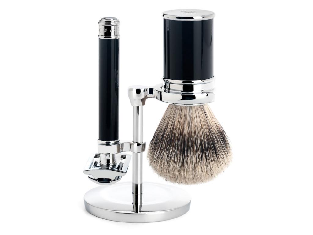 Tradiční sada na holení Mühle, černá, Silvertip badger, žiletka