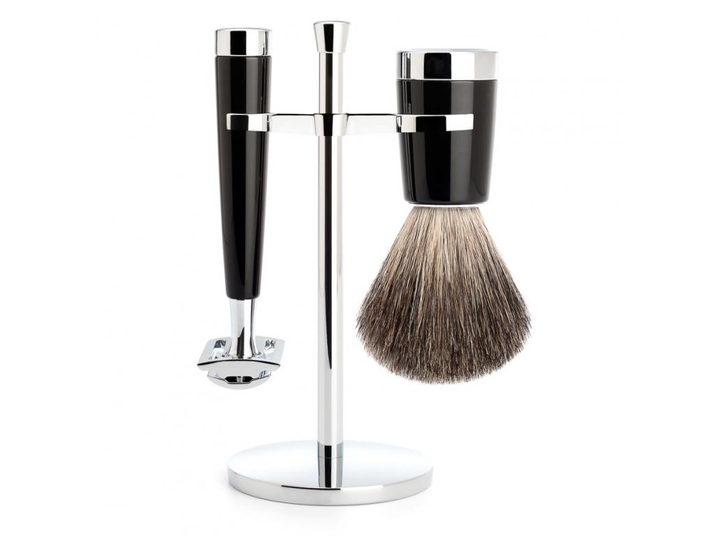 Sada na holení Mühle Liscio, černá, Pure badger, žiletka