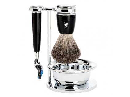 Sada na holení Mühle Rytmo s miskou, černá, Pure badger, Fusion