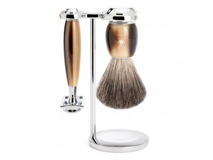 Sada na holení Mühle Vivo Horn Brown, Pure badger, žiletka