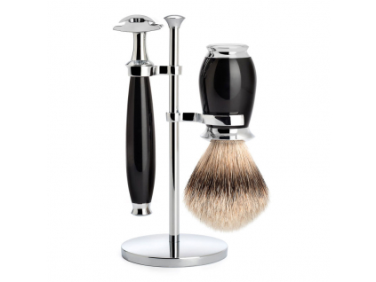 Sada na holení Mühle Purist, černá, Silvertip badger, žiletka
