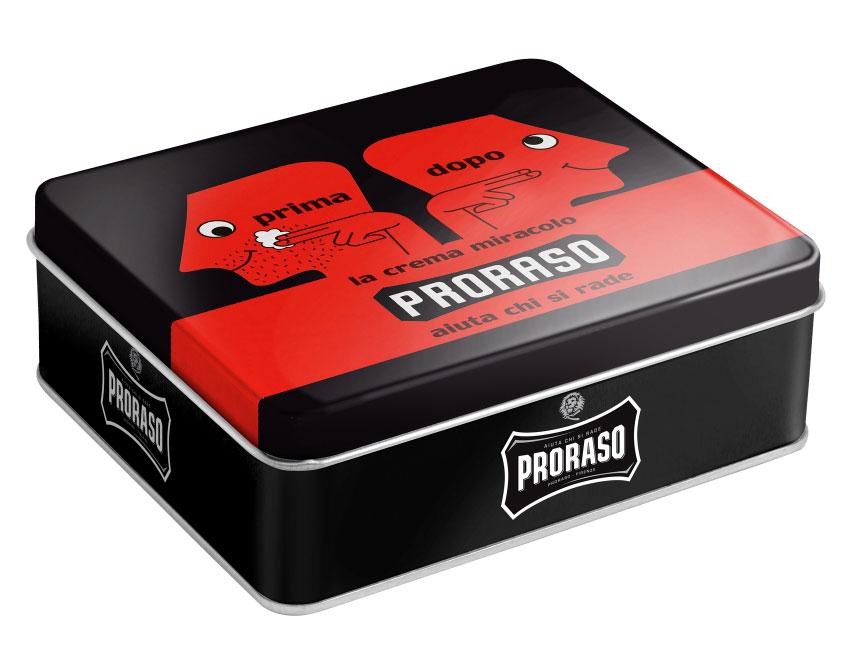 Dárkové balení Proraso RED, výběr produktů v plechové dóze