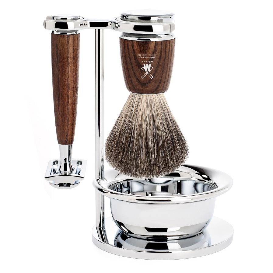 Sada na holení Mühle Rytmo Ash s miskou, Pure badger, žiletka