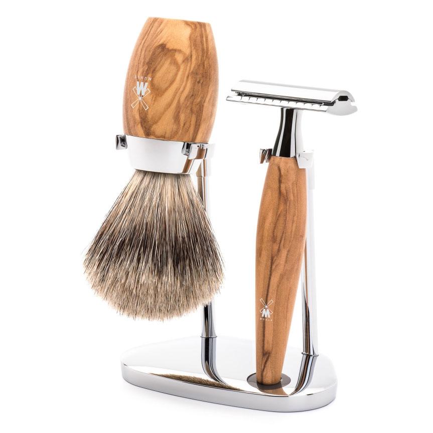 Sada na holení Mühle Kosmo Olive wood, Fine badger, žiletka