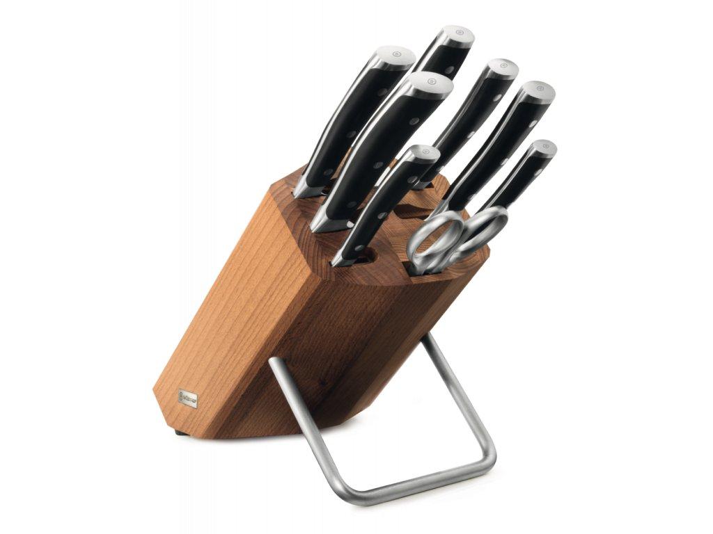 sada 8 ks dilu dily blok na noze bukove drevo 6 nozu ocilka nuzky wusthof solingen classic ikon kvalitni noze 20