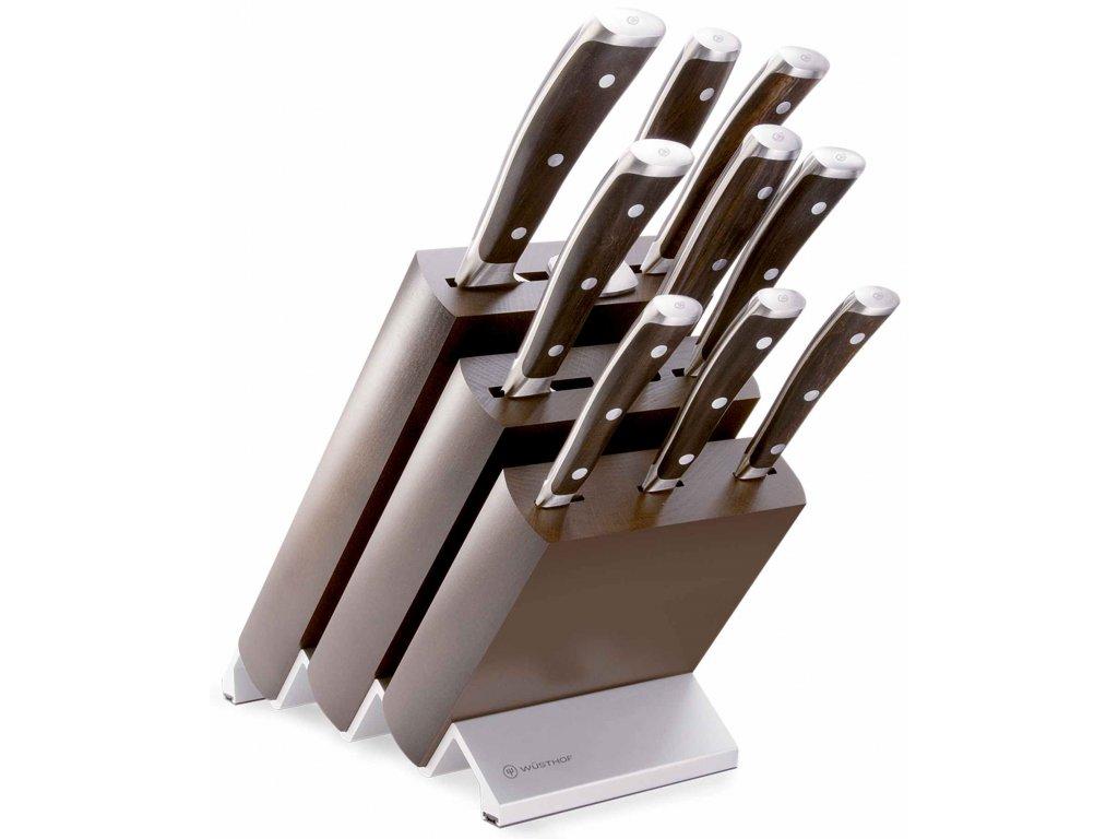 sada kovanych kuchynskych nozu ikon s drevenou rukojeti v bloku wusthof solingen 1090570901
