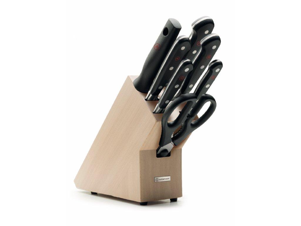 sada kovanych kuchynskych nozu classic v drevenem bloku wusthof solingen 9835