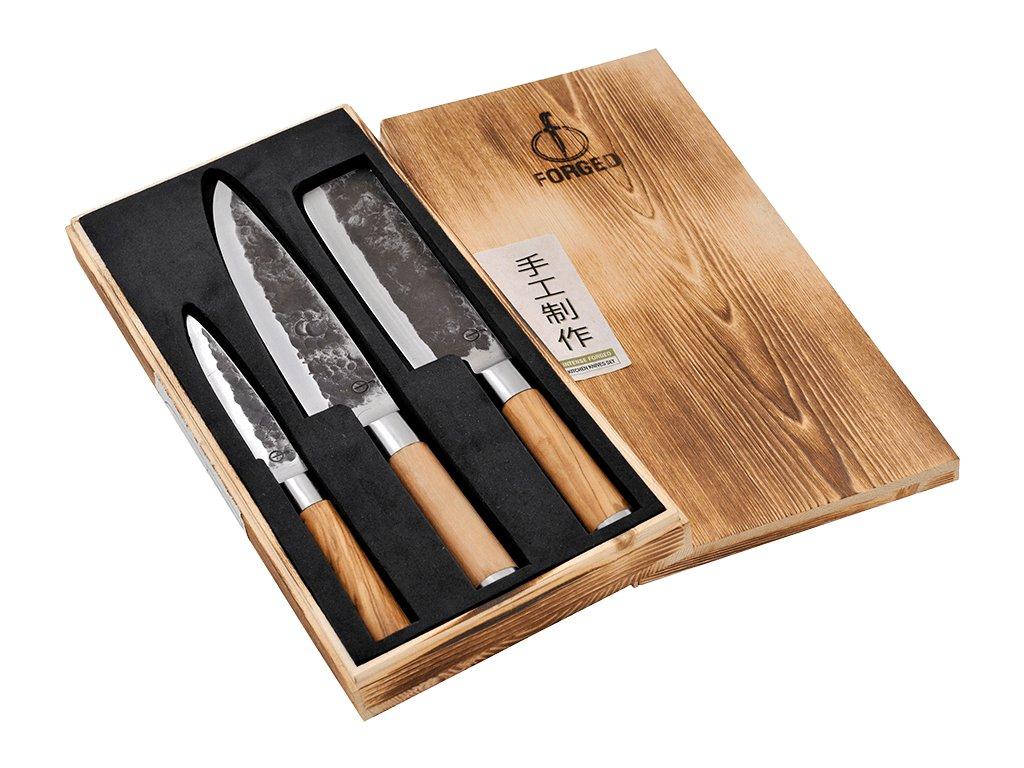 3dilna sada kovanych kuchynskych nozu z japonske oceli forged olive s drevenou rukojeti sdv 305287