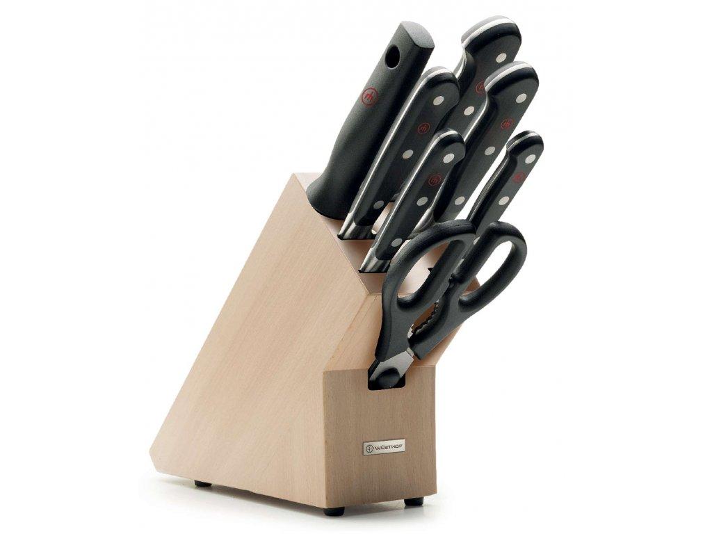 sada kovanych kuchynskych nozu v akci classic wusthof solingen stojan blok 7 ks kusu26