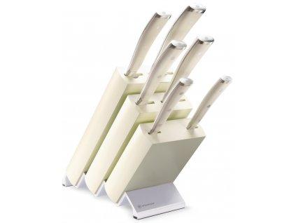 sada kovanych kuchynskych nozu s kremovou rukojeti v bloku classic ikon creme wusthof solingen 1090470601