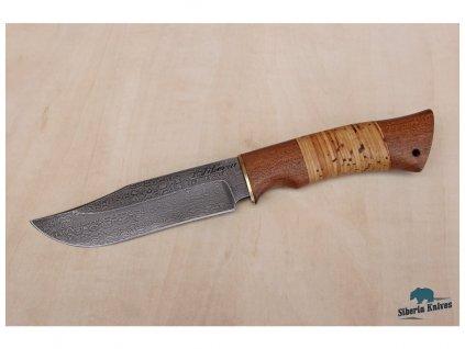 rucne kovany damaskovy nuz lovecky z damascenske oceli bowie siberia knives mahagon briza mosaz
