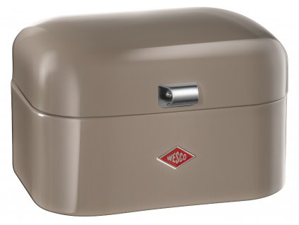 retro plechovy chlebnik doza na potraviny wesco single grandy 235101 57 sedohnedy