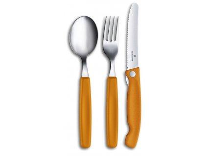 vlnkovate ostri skladaci svacinovy na rajcata nuz victorinox swiss classic piknik oranzovy set lzice vidlicka2