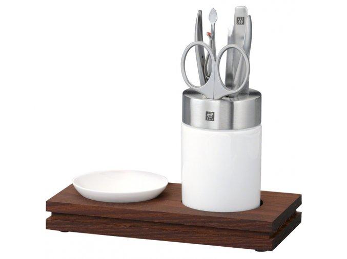 5 dilna manikura stojan miska podstavec porcelan nerez drevo zwilling solingen