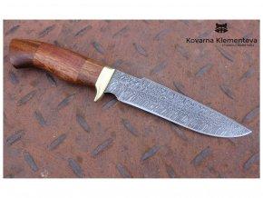 rusky lovecky nuz z damaskove oceli lovec kovarna klementeva mahagon