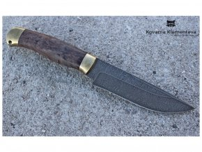lovecky rusky nuz z damascenske damaskove oceli myslivec kovarna klementeva NN900